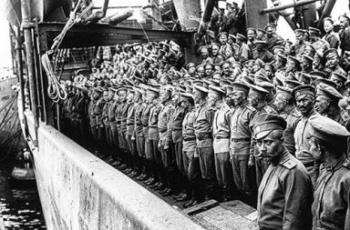 The Russian Expeditionary Force arrives at Marseille, 1916