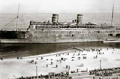 SS Morro Castle burnt and shipwrecked off of New Jersey, 1934