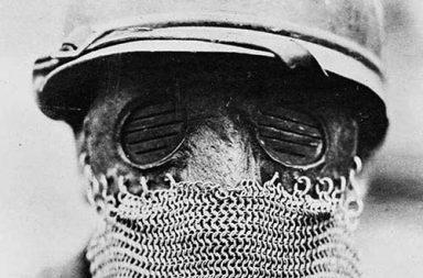 Splatter mask worn by British tank gunners during WWI, 1918