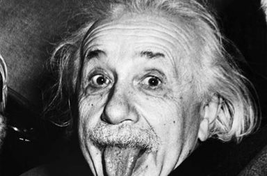 Einstein sticking his tongue out, 1951