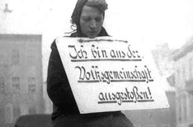 A German woman facing public humiliation because of a romantic affair with a Polish man, 1942