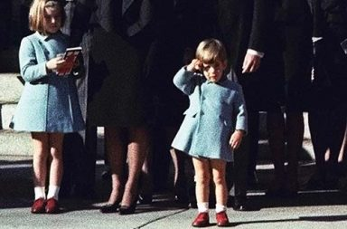 John F. Kennedy Jr. salutes his father's casket in Washington, 1963