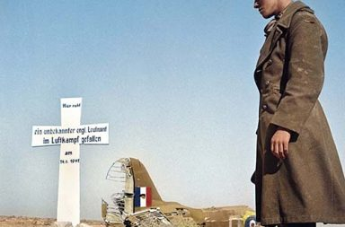 The grave of an Allied pilot buried by Germans during the North African Campaign, 1941.