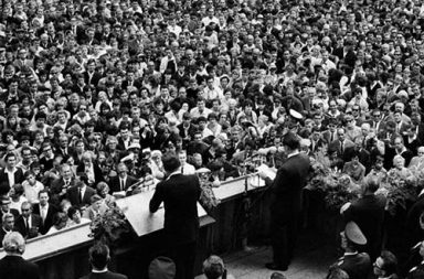 "Kennedy delivering his ""Ich bin ein Berliner"" speech, 1963"
