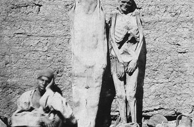 Man selling mummies in Egypt, 1865