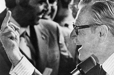 Vice President Rockefeller gives the middle finger, 1976