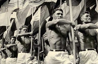 Soviet gym teachers parade in Moscow, 1956