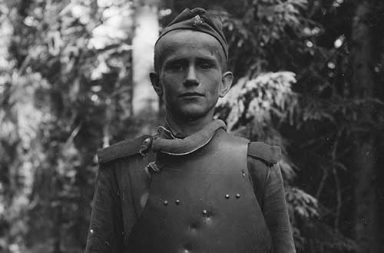 Captured Soviet soldier dressed in SN-42 body armor, 1944