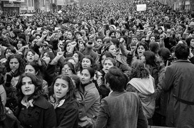 Women protesting forced hijab days after the Iranian Revolution, 1979