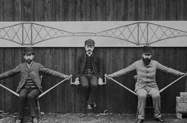 Engineers demonstrating the cantilever bridge system, 1887