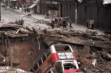 Balham tube station after a German air raid, 1940