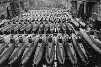 Japanese Type D Koryu midget submarines in drydock, 1945