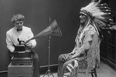 Mountain Chief recording Blackfoot songs for the Smithsonian, 1916