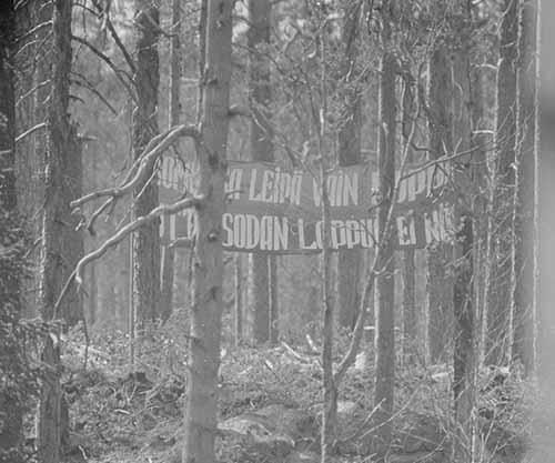 Soviet frontline propaganda banner directed towards Finns, 1942