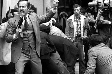 The chaotic scene after the attempted assassination of President Reagan, 1981