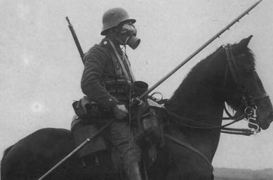 German cavalry patrol in gas masks and carrying lances, 1918
