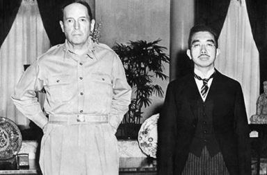 Emperor Hirohito and General MacArthur meeting for the first time, 1945