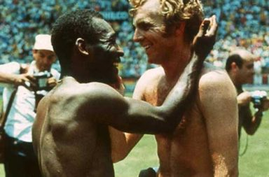 Pele and Bobby Moore swapping jerseys after Brazil defeated England in the 1970 World Cup group stage, 1970