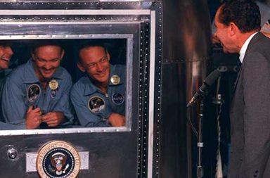 President Nixon visiting Apollo 11 crew in quarantine, 1969