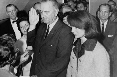 President Johnson taking the Oath of Office on Air Force One, 1963