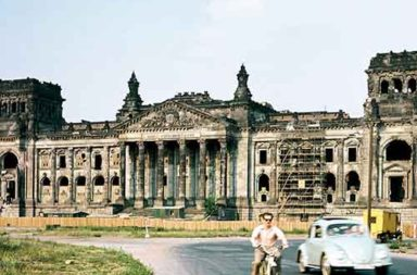 The Reichstag building in Berlin just before the first restoration began, 1958