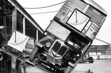 Proving that London's double-decker buses were not a tipping hazard, 1933