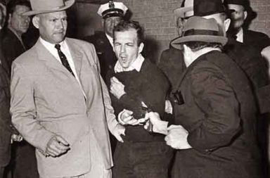 The moment Jack Ruby shot Lee Harvey Oswald in Dallas, 1963