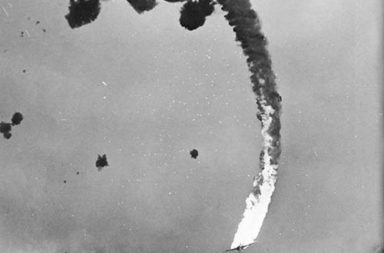 The final moments of a Japanese dive bomber, 1945
