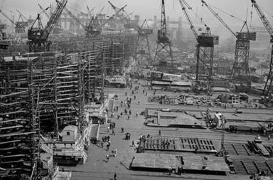 Building Liberty ships for the war effort, 1941