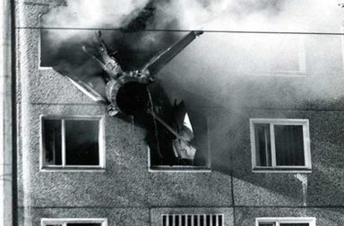 MiG-21 crashed into an East German apartment block, 1975