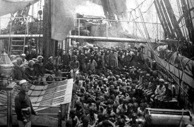 Rescued slaves crowd the deck of the HMS Daphne, 1868