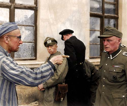 A Concentration Camp Victim Identifies A SS Guard, 1945