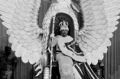 Emperor Jean-Bedel Bokassa , seated on his tasteless golden throne for his coronation, 1977