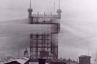The Stockholm Telephone Tower with approximately 5,500 telephone lines, 1890