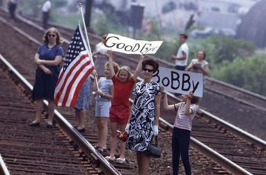 Watching Robert F. Kennedy's funeral train pass by, 1968