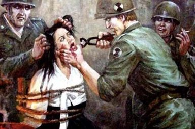 Violent pictures of North Korean anti-American propaganda art, 1950-1970