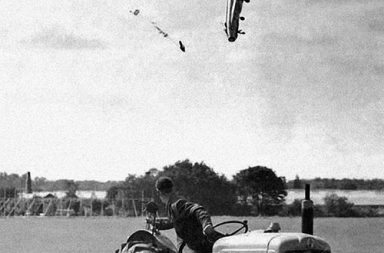 Test pilot George Aird ejected from his Lightning F1 aircraft, 1962
