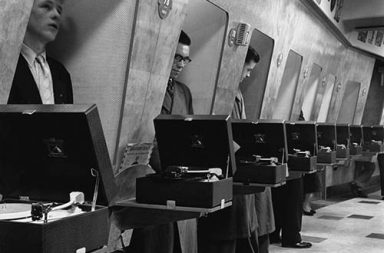 Vinyl listening booth to discover new music, 1950s