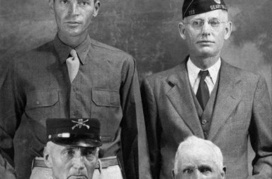 Veterans of four different wars from the same town of Geary, Oklahoma, 1940s