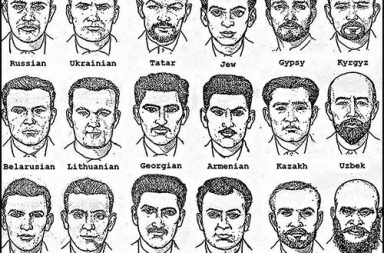 Sketches used by the Soviet police to identify suspects based on nationality, 1960s