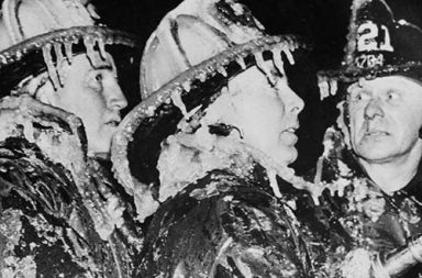 Historical photos of firefighting in winter conditions, 1880-1980