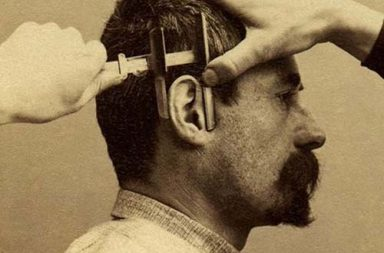 The Bertillon system that cataloged criminals by their physical measurements, 1894