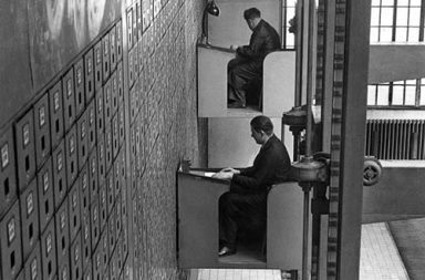 The offices of the Central Social Institution of Prague with the largest vertical letter file in the world, 1937